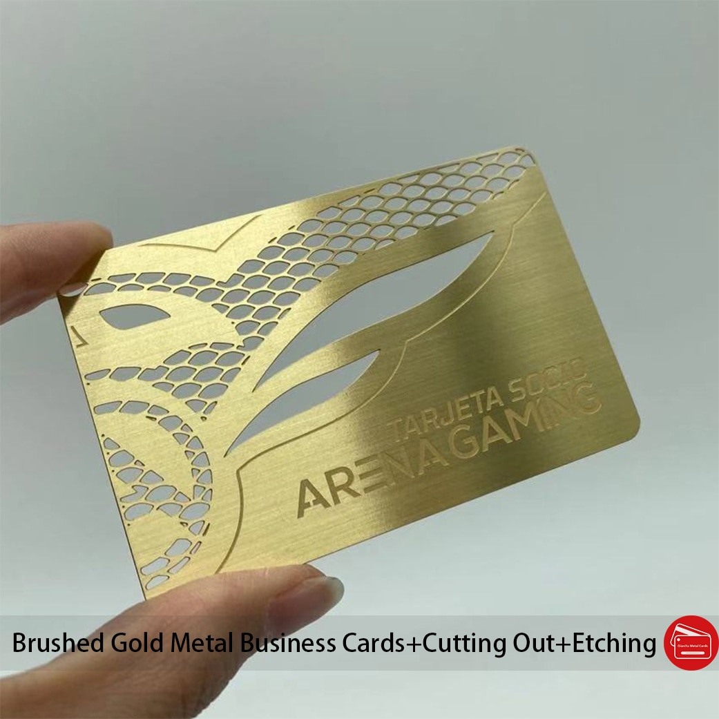 100pcs/lot Cutting Out Stainless Steel Cards Brushed Plated Gold Metal Business Cards
