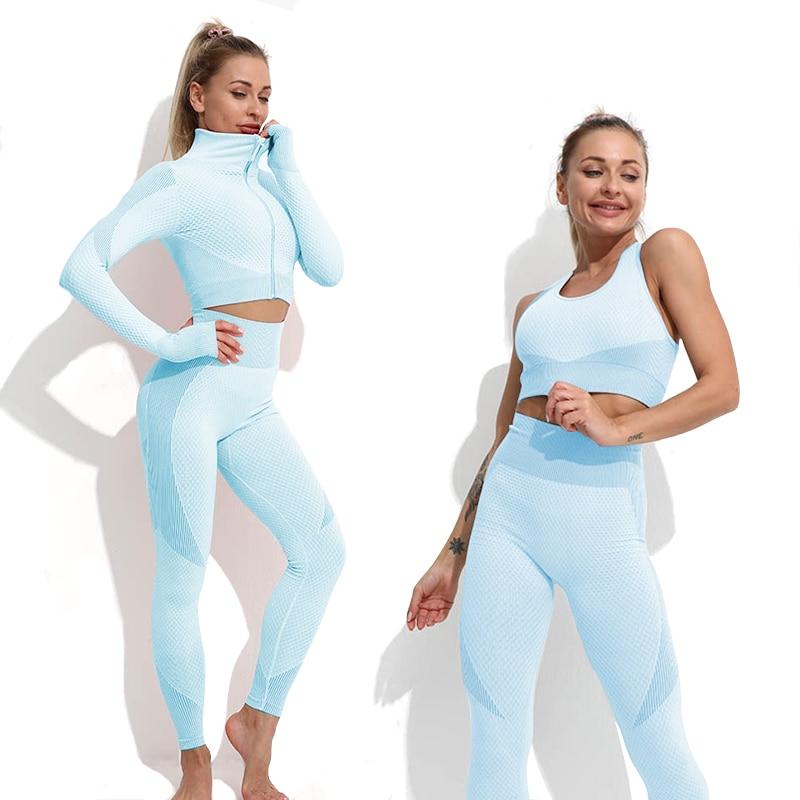 طقم يوغا ملابس لياقة بدنية للصالة الرياضية للنساء بدلة رياضية سروال داخلي رياضي حمالات صدر علوية كم طويل بدلة رياضية نسائية