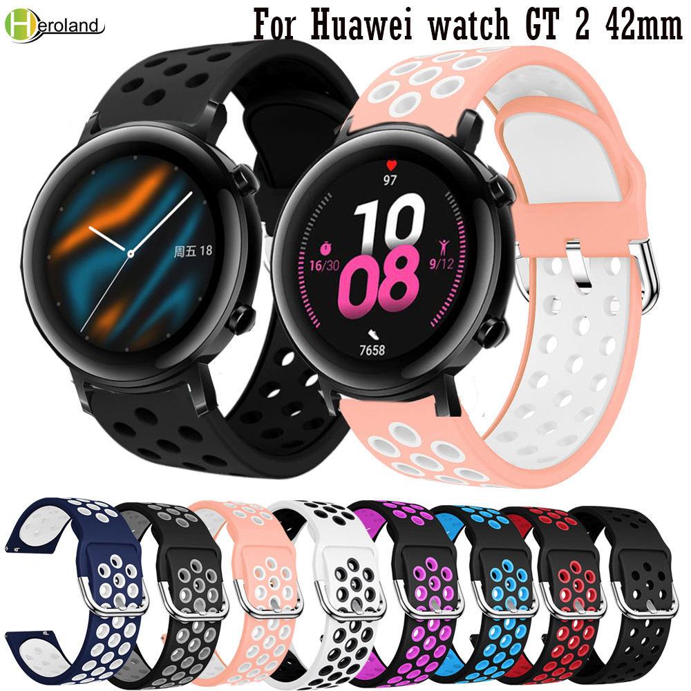 Correa de reloj deportiva de silicona de 20mm para Huawei watch GT 2, pulseras inteligentes de 42mm para Huawei Honor Magic Watch 2, pulsera de correa de 42mm
