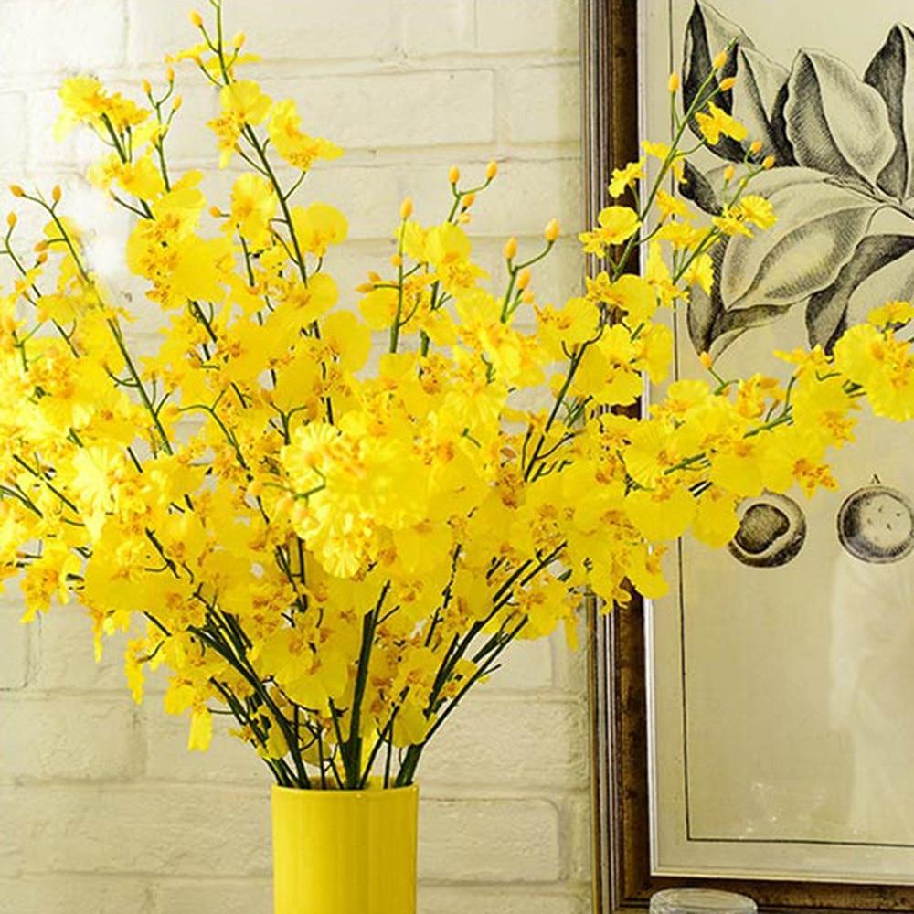 98 cm dansende vlinder orchidee geel plástico doek kunstbloem para a família bruiloft decoração interior tuinieren nep bloem