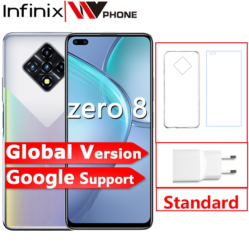 Перейти на Алиэкспресс и купить Infinix ноль 8 8GB 128GB смартфон Новый глобальная версия 6,85 ''90 Гц Full Экран 64-мегапиксельная четырехъядерная камера 4500 мА/ч, Батарея 33 Вт Зарядное ус...