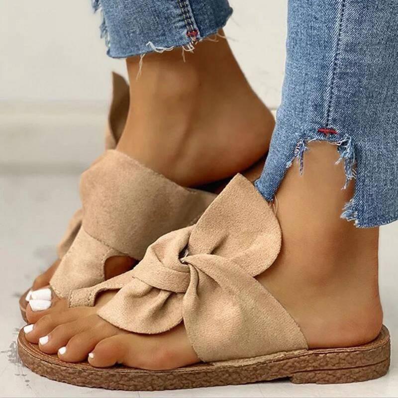 Butterfly-knot flock summer shoes women sandals 2020 solid flats heel sandals women shoes classics Beach Shoes Woman Footwear