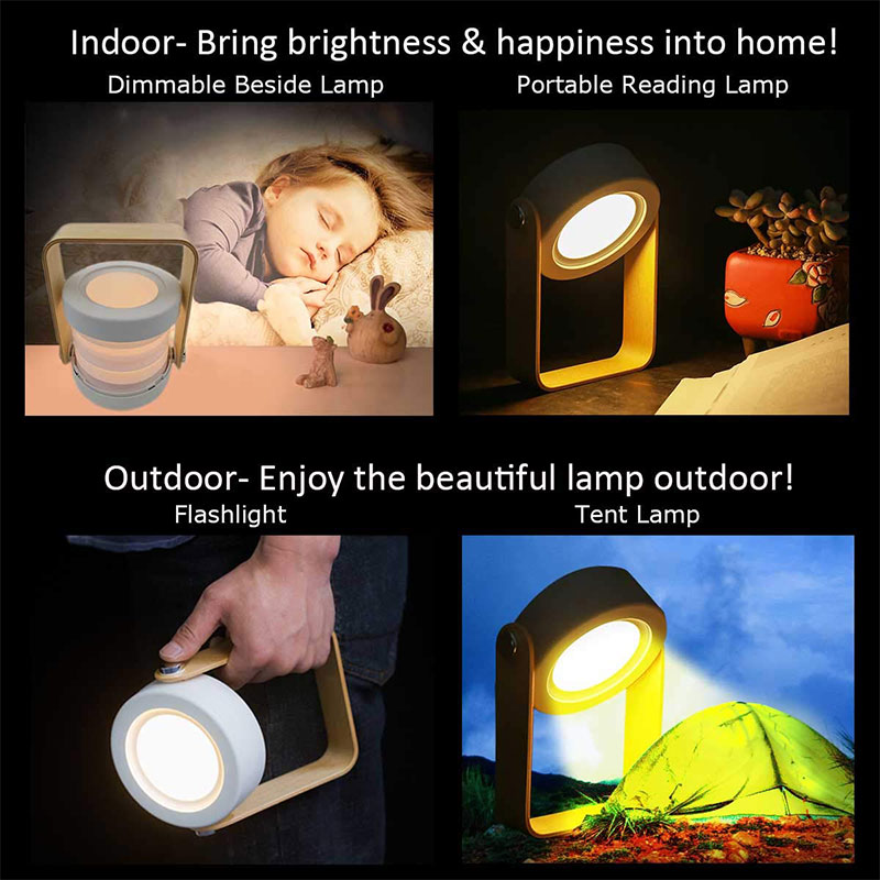 Foldable Touch LED Night Light Wooden Handle Lantern Lamp USB Rechargeable Dimmable Reading Portable Bedside Light Children Gift enlarge