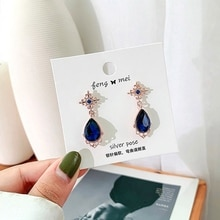 DEL LUNA Hotel  Korean Dramas TV Personality Blue Crystal Dangle Earrings For Women Elegant Earrings Party Fashion Jewelry