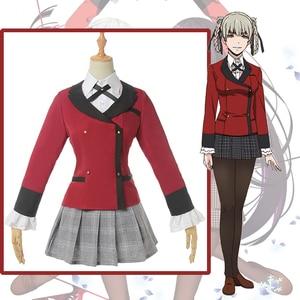Anime Comic Kakegurui Cosplay Costumes Momobari Kirari Cosplay Costume Dresses School Uniforms Clothes suits Red Coats Skirts