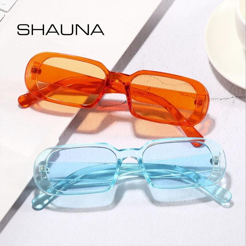 Маленькие прямоугольные солнцезащитные очки винтажные очки SHAUNA женские очки с океанскими линзами Модные мужские солнцезащитные очки 80 'От...