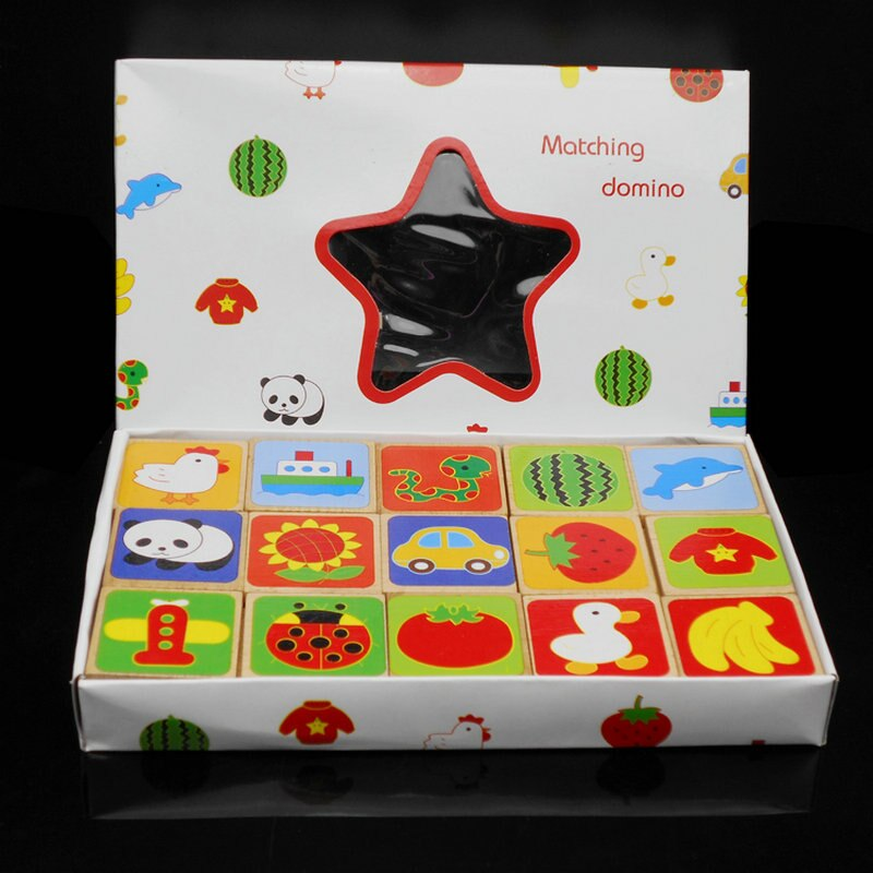 children s building blocks toys 1 3 years old baby shape matching wooden Children Educational Fruit Matching Puzzles Domino 30 Pieces Animals Block Kids Building Blocks Baby Montessori Wooden Toys Gift
