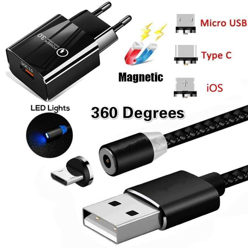 QC 3.0 Carregador Cabo Magnética Para Samsung NOTA 10 9 8 S4 S5 S6 S7 S8 S9 Plus J3 J5 J7 A3 A5 2017 Rápido Carregador de Parede Do Telefone Móvel