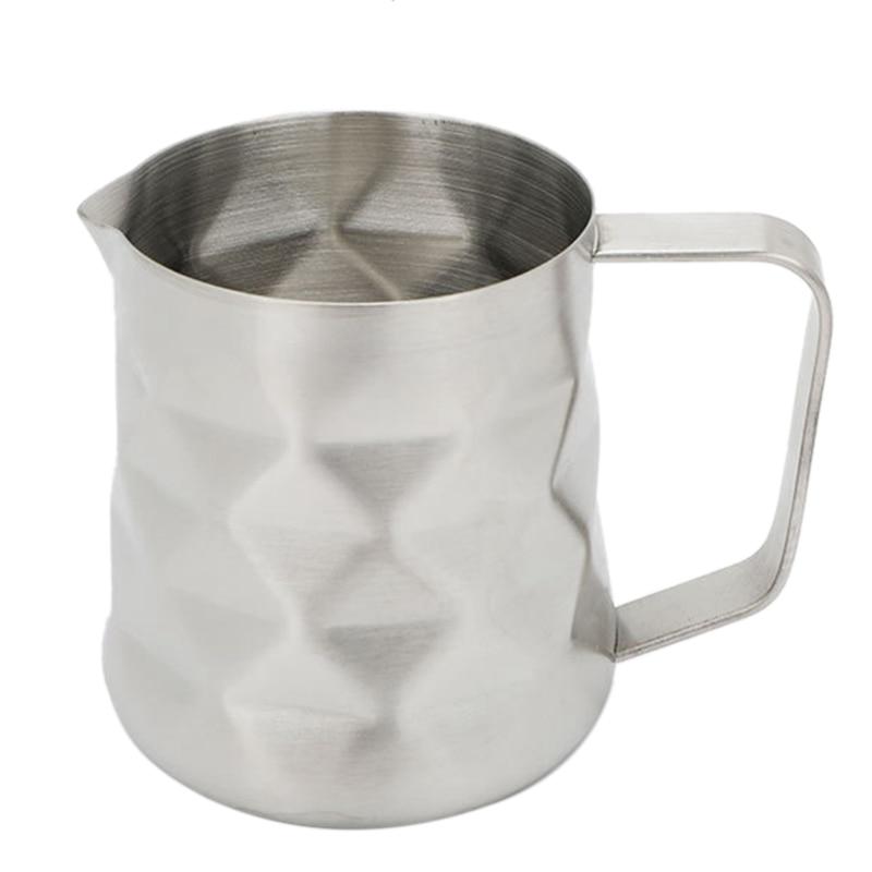 600Ml de acero inoxidable diseño prismático jarra de espuma de leche jarra de leche Espresso cuchara de café artesanal Latte taza de crema de leche