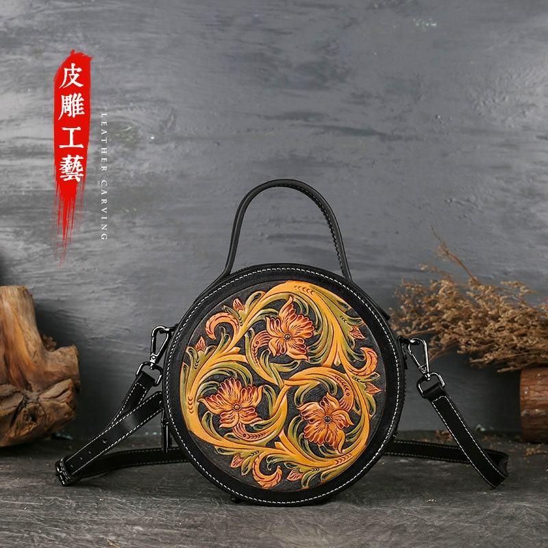Leather Ladies' new pure color retro lady handbag, cowboy skin knapsack backpack girl
