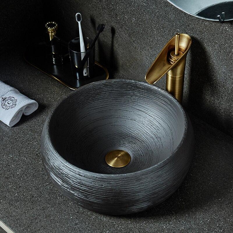 Arte Retro sobre lavabo de encimera Oval cerámica lavabo individual hogar antiguo...
