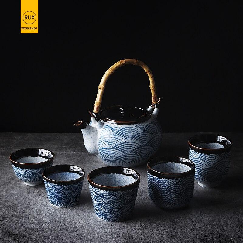 RUX Taller de estilo japonés tetera para el hogar taza de té de cerámica taza de agua restaurante tetera