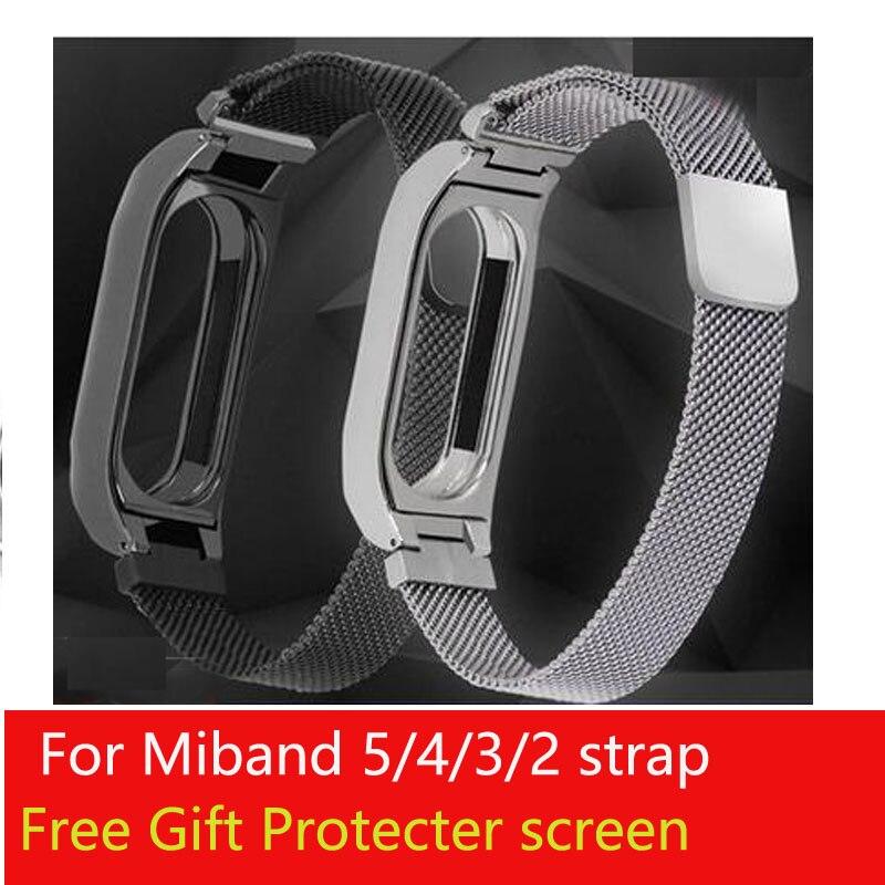 Miband 5 Milanese Loop Roestvrij Band Voor Xiaomi Mi Band 5 4 3 2 Pols Bands Armband Pols Bandjes Metalen riem
