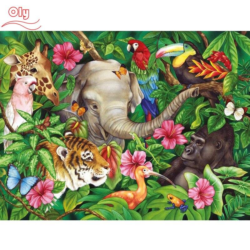 "100% completo 5D Diy Daimond pintura ""elefante, gatos y Tigre"" 3D diamante pintura redonda diamante pintura bordado Animal"