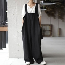 Summer 2021 Japanese Style Solid Color Loose Jumpsuit Pocket Simplicity Casual Fashion Temperament S