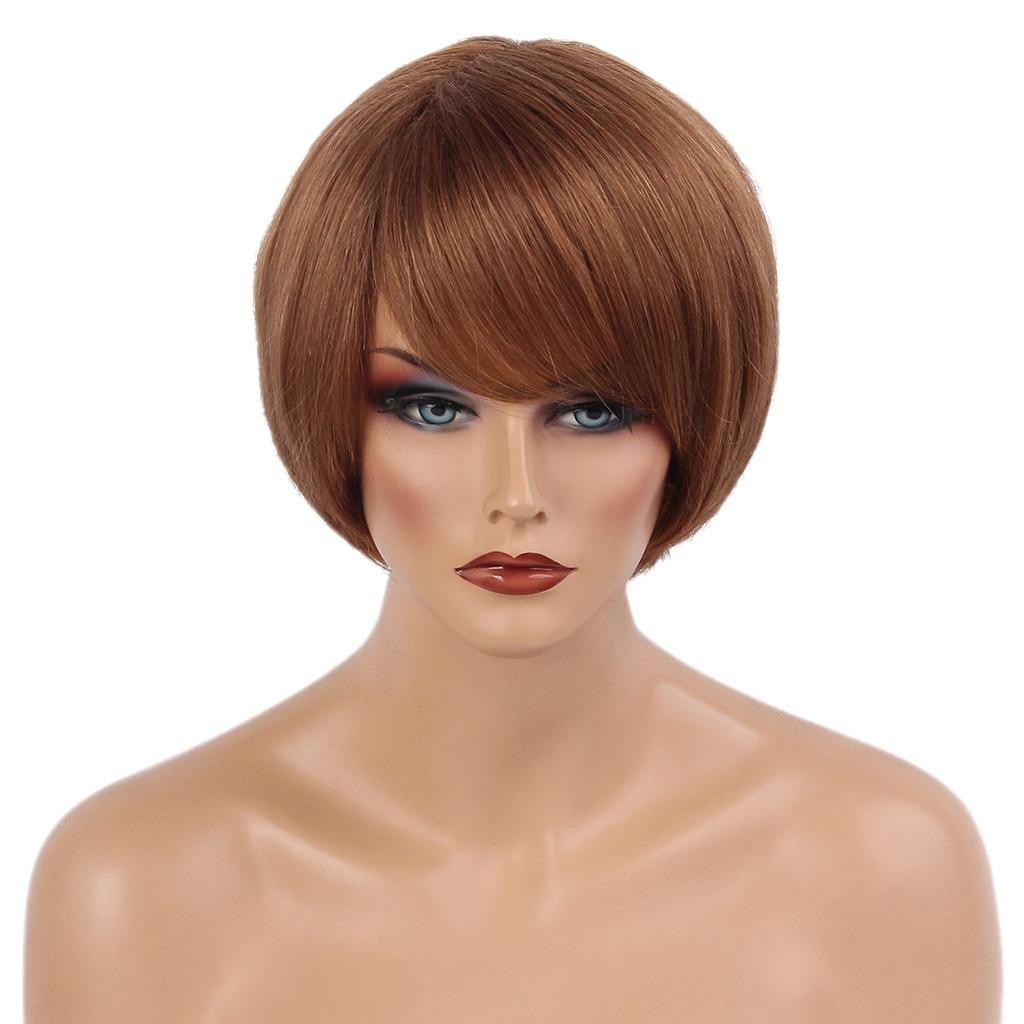 مقاومة قصيرة الطبقات مستقيم 100% خصلات الشعر المستعار الإنسان مع قبعة براون