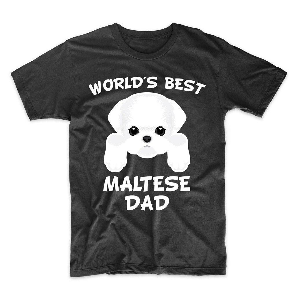 Maltés papá mejor del mundo maltés papá perro propietario camiseta tamaño grande Tee Tops camiseta