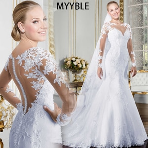 MYYBLE Sheer O-neck Long Sleeve Mermaid Wedding Dress 2021 See Through Illusion Back White Bridal Gowns with Lace Appliques