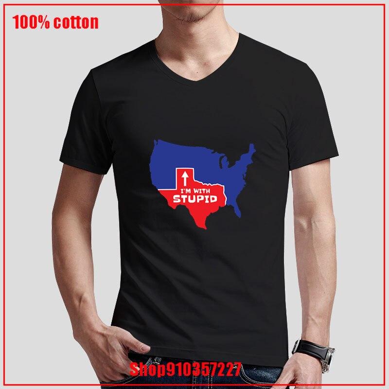 Camisetas masculinas con estampado de Tejas Im With Stupid, camiseta Hipster Tumblr con cuello en V, camisetas de estilo veraniego de manga corta, ropa barata para hombre