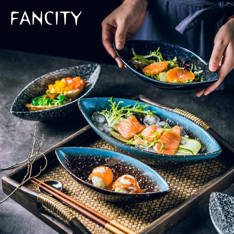 FANCITY-طبق خزفي غير منتظم على الطريقة اليابانية ، مجموعة عميقة ، طبق شوربة ، طبق حلوى بورسلين ، مطعم