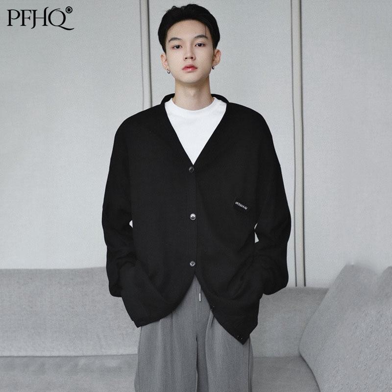 Новинка 2021 от PFHQ, Мужская модная свободная самодельная маленькая черная вязаная кофта с V-образным вырезом, осенне-зимняя куртка 21E4839