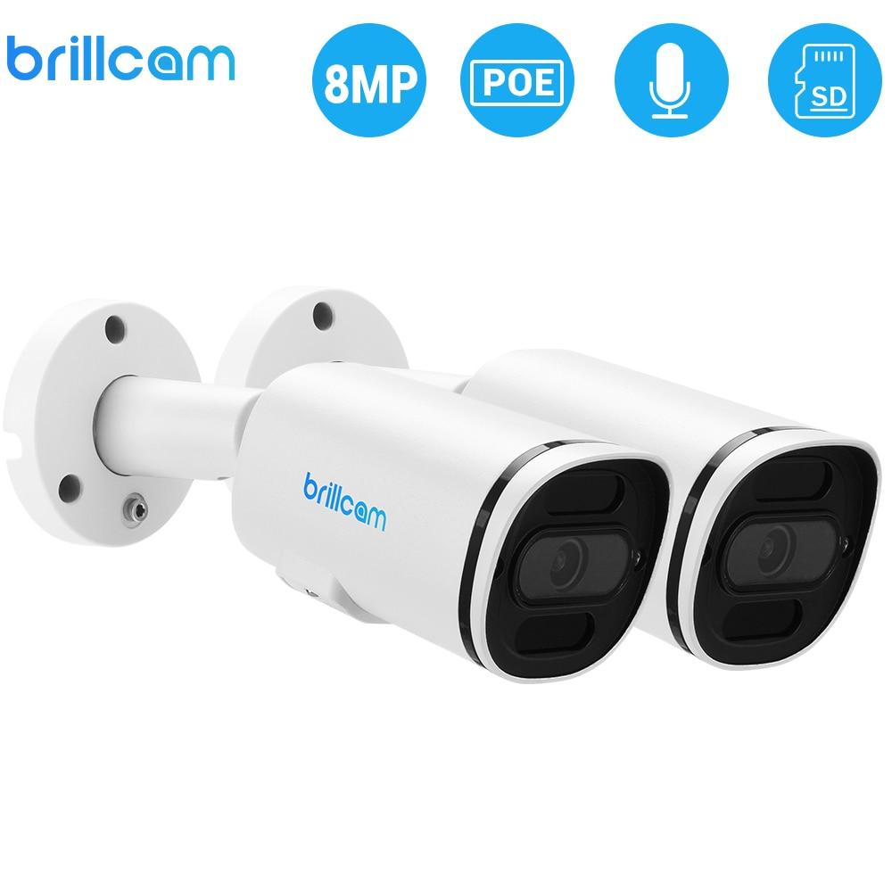 Brillcam(Pack 2) 4K/8MP UHD IR Bullet IP 카메라, 2.8mm Len PoE IP67 비바람에 견디는 AI SD 슬롯, 마이크 내장 홈 카메라