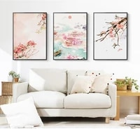 chinese style vintage flower landscape canvas painting pink plum blossom chinese ancient house poster wall art picture home