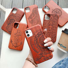 Solid Wood Sculpture Case for IPhone 13 11 12 Pro Max Real Wood Shockproof Cover for IPhone XR X XS