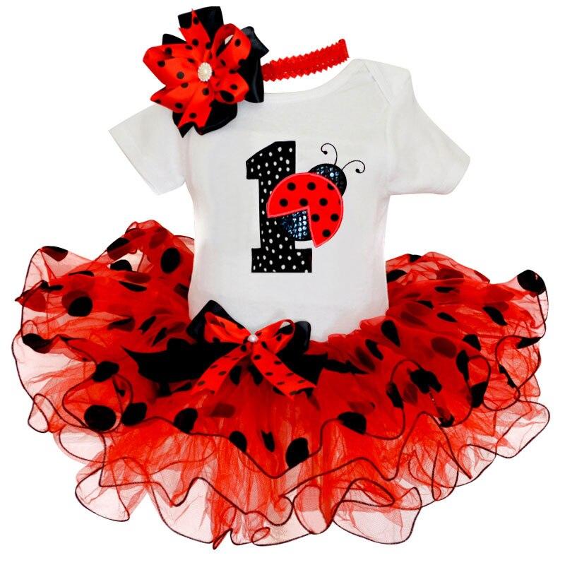 My Baby Girl Clothing Fancy Dot Dress for Girls Baptism Christening Gown 1 Year Girl Baby Birthday Dress Print ladybug Dresses