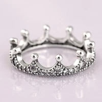 hot original enchanted crown with crystal rings for women 925 sterling silver ring wedding party gift fine jewelry