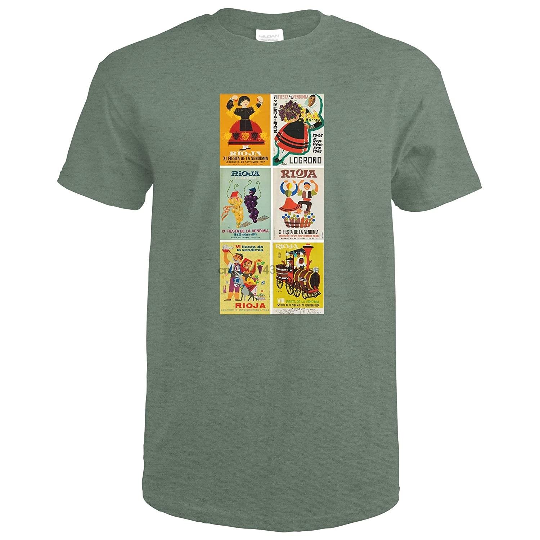Rioja 6 posters vintage poster (artista vário) espanha c. 1962 61875 (heather militar verde camiseta médio)