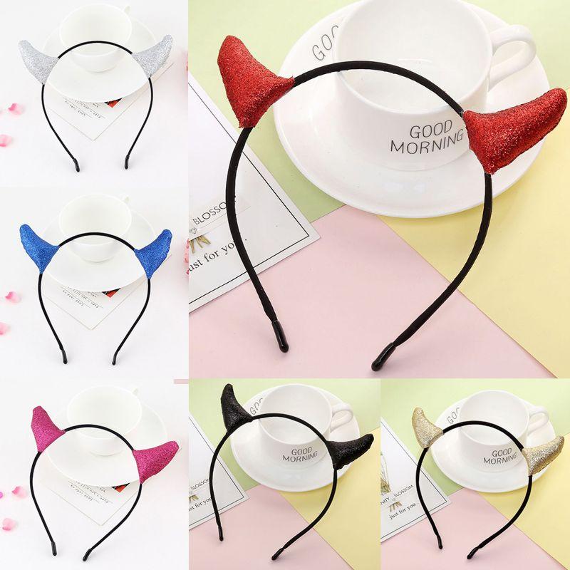 Women Girl Halloween Headband Glitter Sequins Devil Horn Cosplay Party Hair Hoop