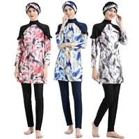summer bukini muslim swimsuit middle east conservative hui swimsuit printing slim high elasticity sunscreen three piece swimsuit