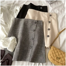 I Love This Material! Amoi Button Embellished One-Step Skirt High Waist Slimming Look Straight Leg S