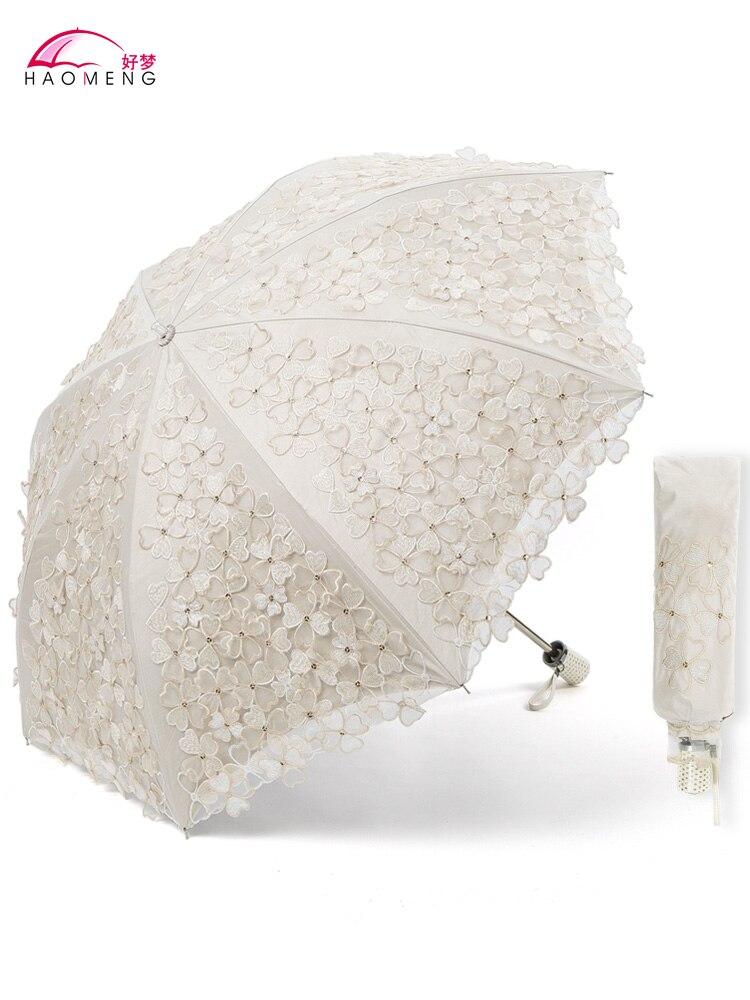 Folding Sun Umbrella Rain Women Clear UV Embroidery Fabric Lace Umbrellas Ladies Parasol Windproof Paraguas Girl Gift SY430 enlarge