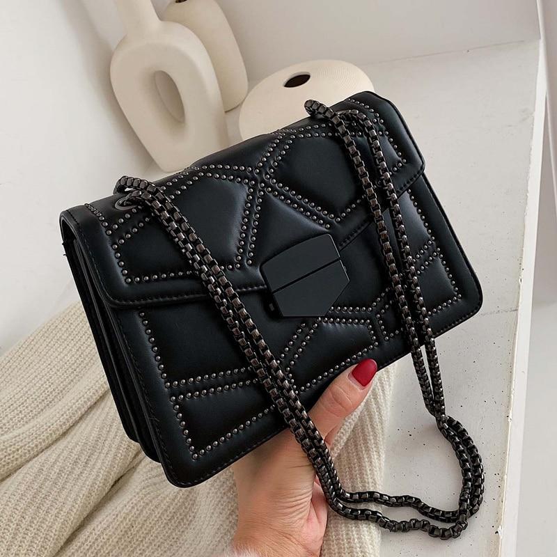 Rivet Chain Brand Designer PU Leather Messenger Bag Women's 2020 Fashion Simple Shoulder Bag Ladies Luxury Handbag
