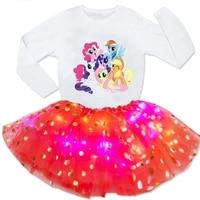 2021 girls sets dress princess poppy party tutu dress light led dress girls 2 pc light dresslong sleeve t shirt sets party gift