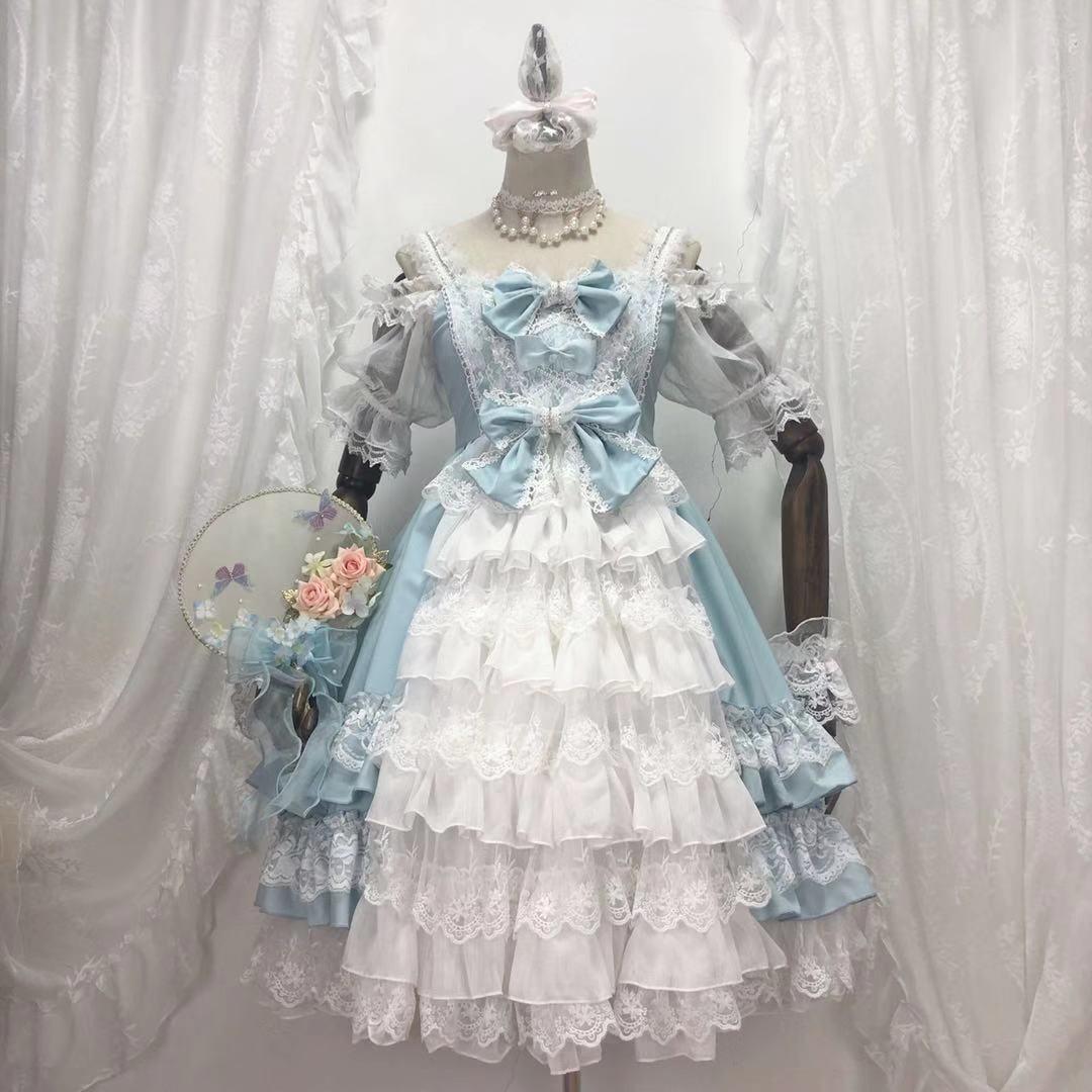 Princesa Festa Doce Lolita Vestido Retro Laço Bowknot Bonito Impressão Vitoriano Kawaii Menina Gothic op Cosplay Chá