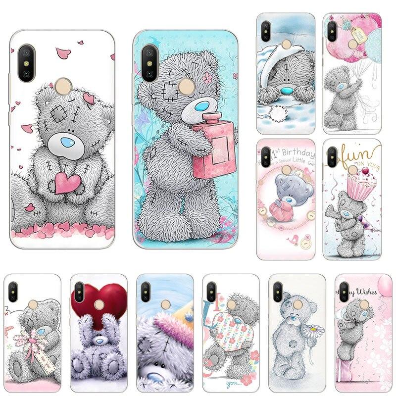 Tatty teddy bonito rosa coração macio silicone caso de telefone para xiaomi mi note10 9t cc9 8 a3 jogar a2 6x redmi nota 8t 8a 7 5 pro 6 4x
