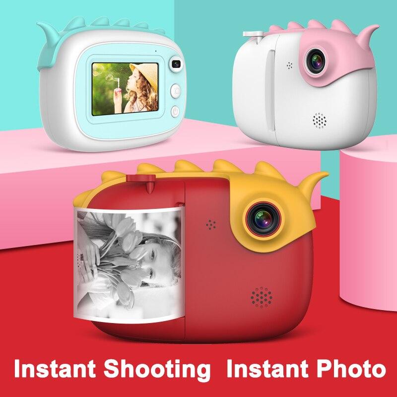 كاميرا الأطفال لطيف HD الاطفال لحظة الحرارية عدسة مزدوجة مع فلاش LED IPS شاشة فيديو الأطفال في الهواء الطلق هدية الكاميرا مع الطباعة
