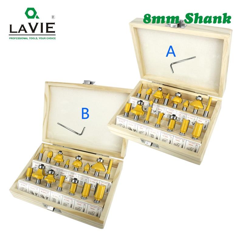 LAVIE-مجموعة لقم التوجيه ، لقم تقطيع مستقيمة للخشب ، مصنوعة من كربيد التنجستن ، 8 مللي متر ، 15 قطعة ، MC02006