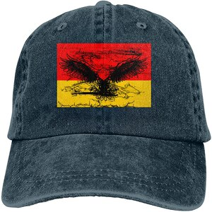 German Flag Eagle Sports Denim Cap Adjustable Unisex Plain Baseball Cowboy Snapback Hat