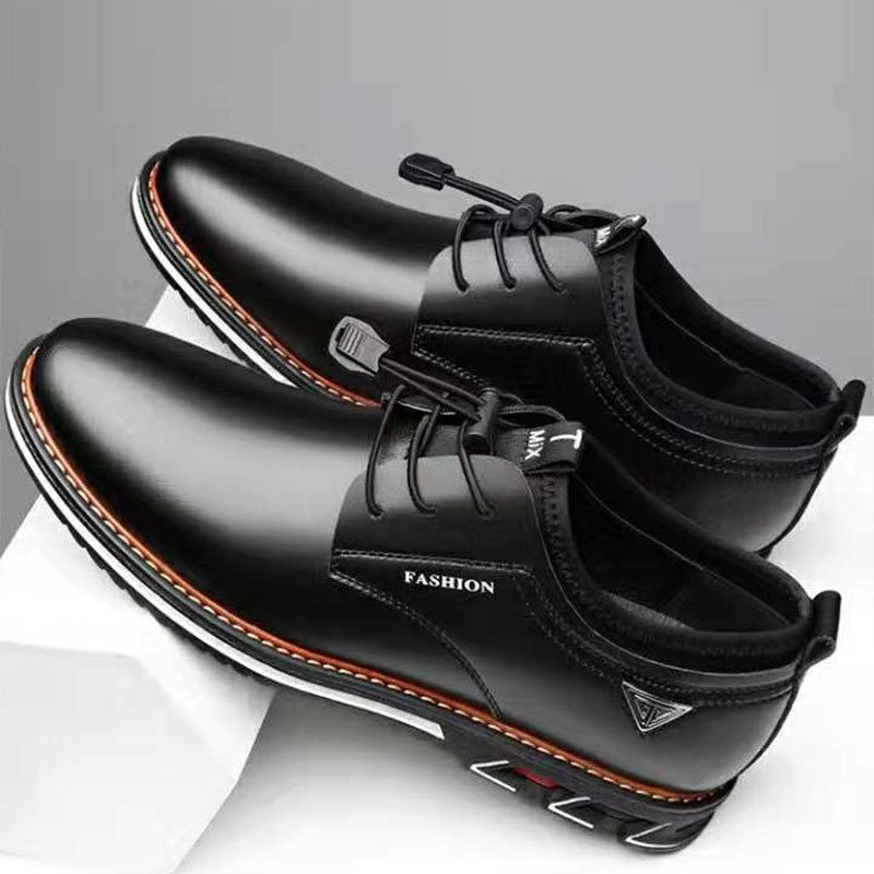 New Men Shoes Leather Cowhide Comfortable Low-top British Casual Single Formal