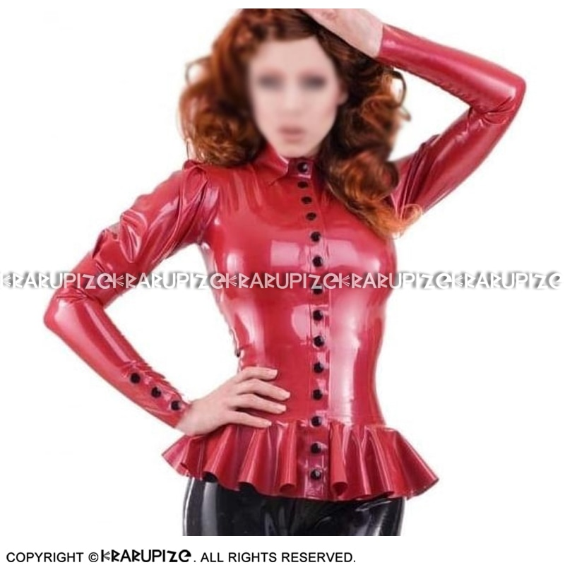 Metallic Red Latex Blouse With Puffs Sleeves Ruffles Buttons Frills At Bottom Rubber Shirt Top Clothes Clothing YF-0193