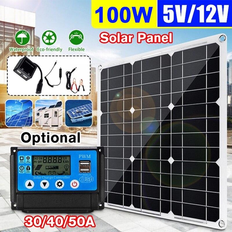 شاحن سيارة لوحة طاقة شمسية مع 40A جهاز تحكم يعمل بالطاقة الشمسية للتخييم في الهواء الطلق 100 واط لوحة طاقة شمسية مزدوجة USB 18 فولت مجلس الطاقة