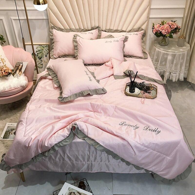 الأميرة نمط غسلها الحرير رمي السرير مجموعة 4 قطعة/المجموعة الكشكشة خليط لحاف الصيف لحاف 4 قطعة لحاف مجموعة الوردي غطاء السرير ورقة المنزل