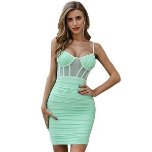 Women Sexy Club Bandage Dress With Mesh Elegant Newest Summer Style Sexy Lady Best Quality Bandage Dresses