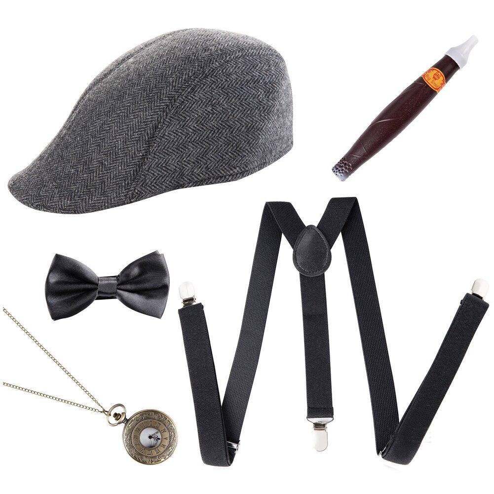 5 uds reloj de bolsillo sombrero de gánster ligas 1920s clásico cigarro adultos fiesta accesorios para las fiestas Retro pajarita hombre traje conjunto