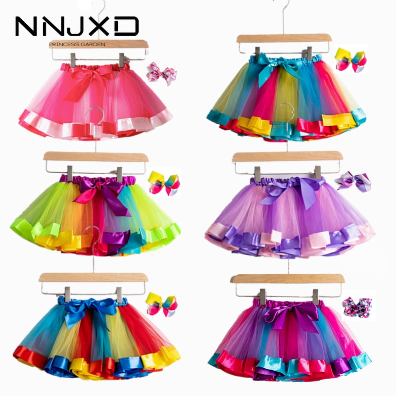 2020 New Tutu Skirt Baby Girl Clothes 12M-8Yrs Colorful Mini Pettiskirt Girls Party Dance Rainbow Tulle Skirts Children Clothing