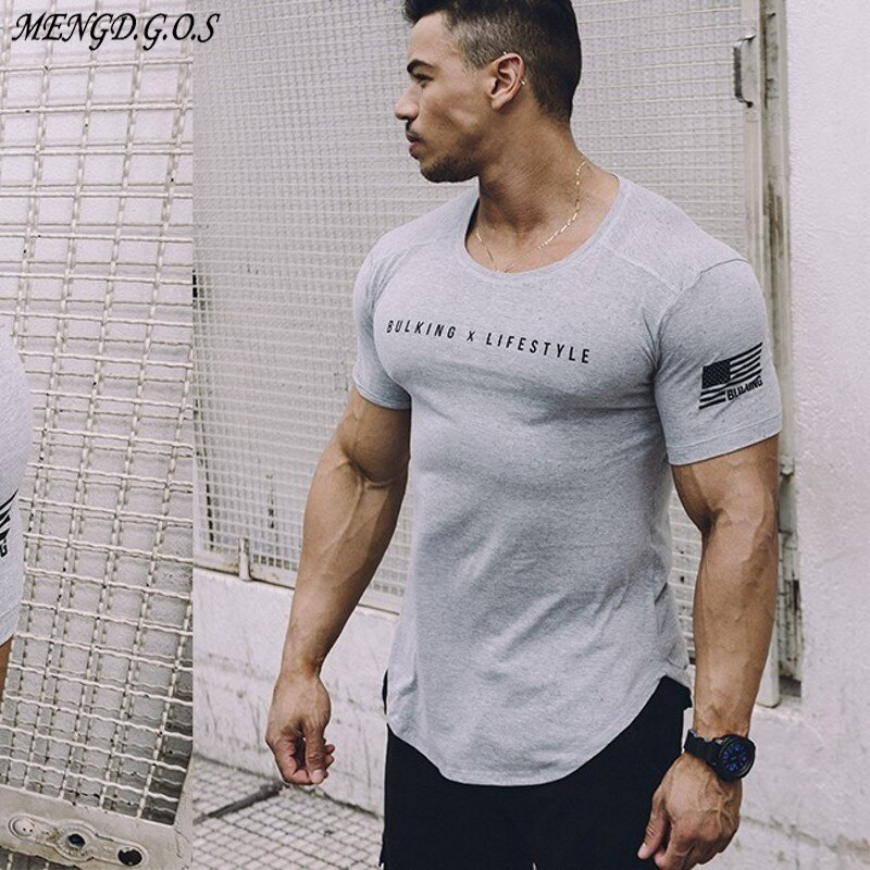 Mens Gyms t-shirt Fitness Bodybuilding Slim Cotton T-Shirts Men Short Sleeve Workout Male Casual Black O-Neck Tees Tops clothing covrlge 2019 t shirt men short sleeve solid tshirt mens fashion slim fit t shirts casual o neck tshirts fitness clothing mts2911